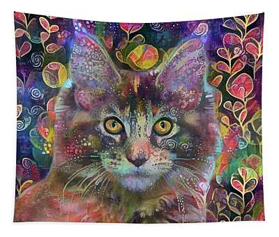 Poppy The Maine Coon Cat In The Garden Tapestry