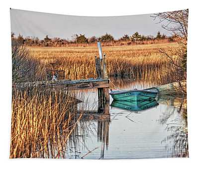 Poquoson Marsh Boat Tapestry