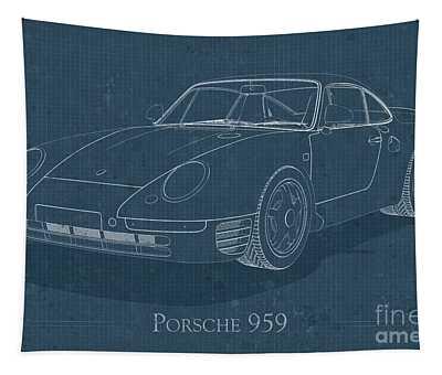 Porsche 959 - Blueprint Tapestry