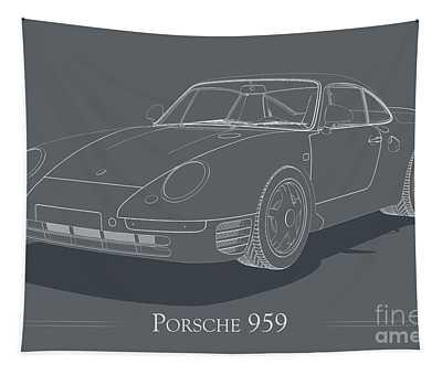 Porsche 959 - White Blueprint On Grey Tapestry