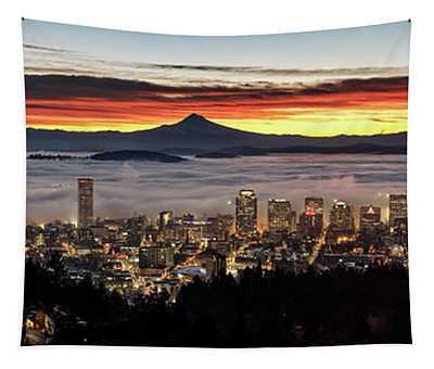 Portland Foggy Sunrise Tapestry