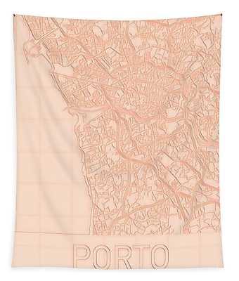 Porto Blueprint City Map Tapestry