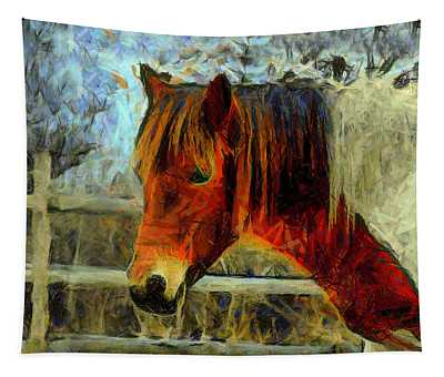 Portrait Of A Pinto Horse Tapestry