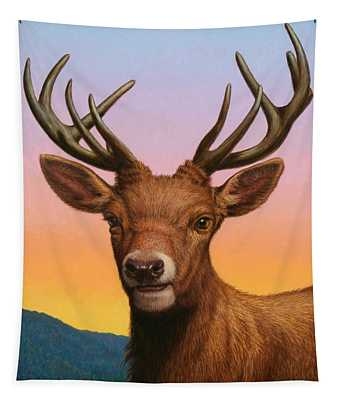Portrait Of A Red Deer Tapestry