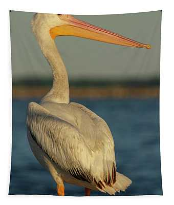 Portrait Of An American White Pelican 2014-3 Tapestry