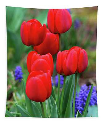 Portrait Of Red Tulips Tapestry