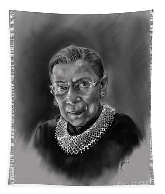 Portrait Of Ruth Bader Ginsburg Tapestry