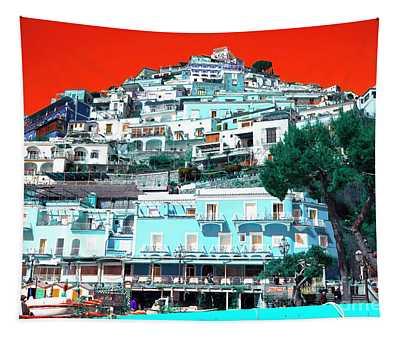 Positano Buildings Pop Art Tapestry