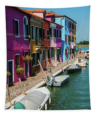 Postcards From Colorful Burano Tapestry