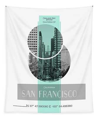Poster Art San Francisco California Street Tapestry by Melanie Viola