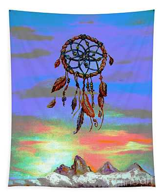 posterized Sweet Dreams Tetons Tapestry