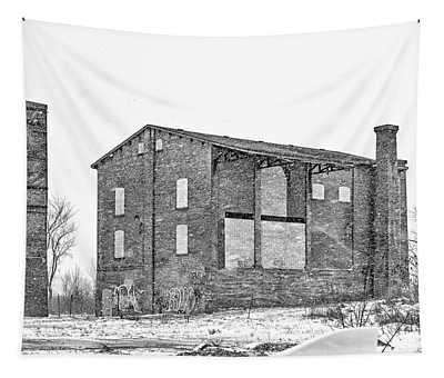 Powerless Station In A Blizzard Bw Tapestry