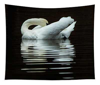 Preening Mute Swan Tapestry