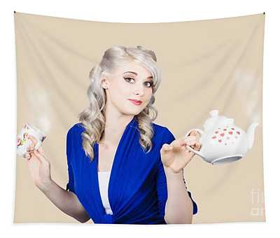 Pretty Blonde Girl Holding A Kettle And A Cup Tapestry