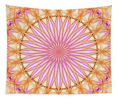 Pretty Delicate Mandala In Orange And Pink Colors Tapestry