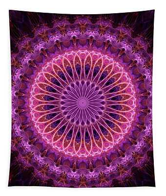 Pretty Detailed Glowing Pink Mandala Tapestry