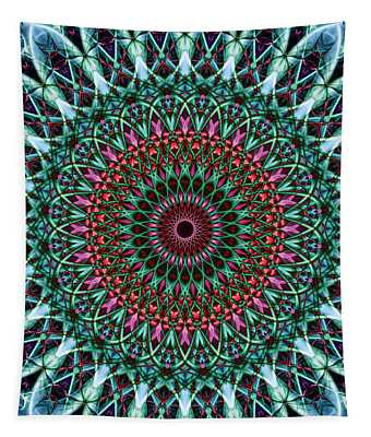 Pretty Detailed Mandala In Green, Pink And Red Colors Tapestry