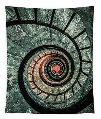 Tapestry featuring the photograph Pretty Green Spiral Staircase by Jaroslaw Blaminsky