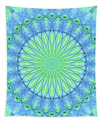 Tapestry featuring the digital art Pretty Mandala In Neon Green And Neon Blue Colors by Jaroslaw Blaminsky