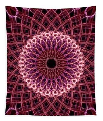 Tapestry featuring the digital art Pretty Mandala In Red And Creamy Colors by Jaroslaw Blaminsky