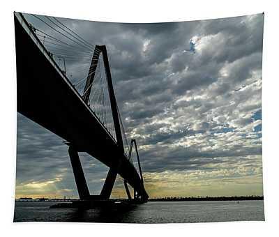 Pretty Sky By The Ravenel Bridge In Charleston Tapestry