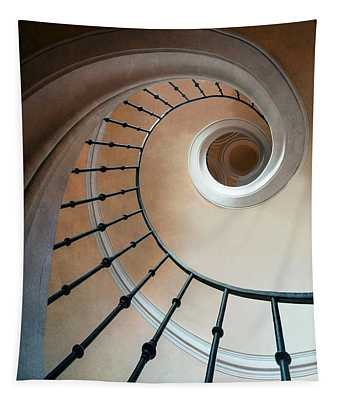 Tapestry featuring the photograph Pretty Spiral Brown Staircase by Jaroslaw Blaminsky