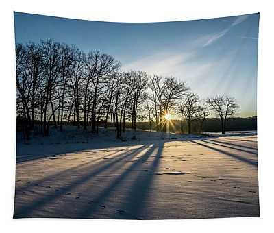 Pretty Winter Sun Rise Scene Tapestry