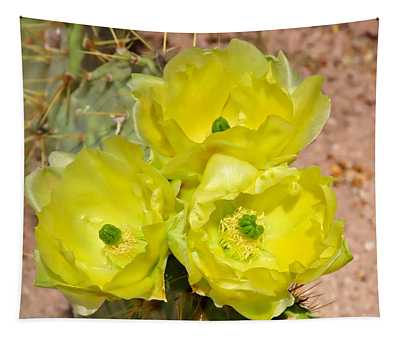 Prickly Pear Cactus Trio Bloom Tapestry