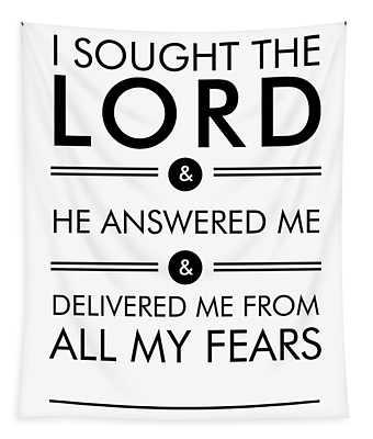 Psalm 34-4 - Spiritual Wall Art - Bible Verses Art - Minimalist Scripture 1 Tapestry