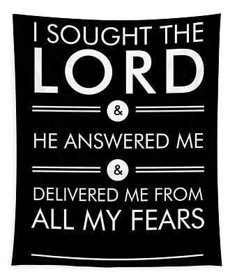Psalm 34-4 - Spiritual Wall Art - Bible Verses Art - Minimalist Scripture 2 Tapestry