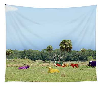 Psychedelic Cows Tapestry