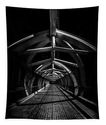 Tapestry featuring the photograph Puente De Luz Pedestrian Bridge Toronto Canada No 1 by Brian Carson