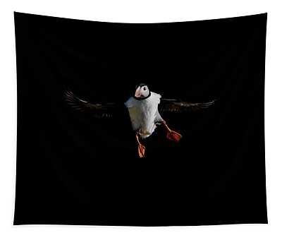 Puffin Flying On Black Tapestry
