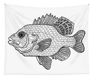 Tapestry featuring the drawing Pumpkinseed Fish by Amy E Fraser