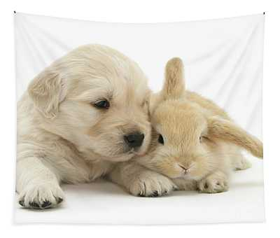Puppy Bunny Babies Tapestry