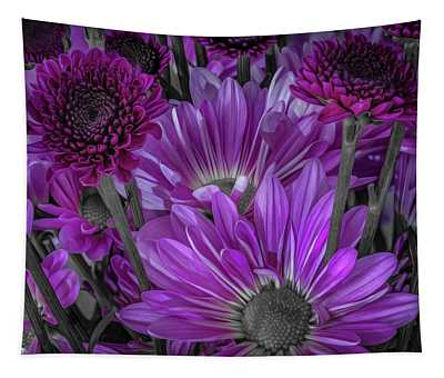 Purple Power Chrysanthem Selective Colorum  Tapestry