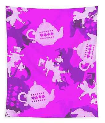 Purple Tea Party Tapestry