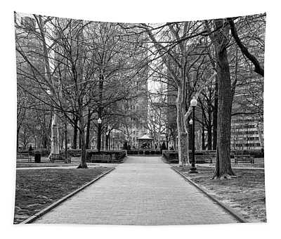Quiet Morning In Rittenhouse Square In Black And White Tapestry