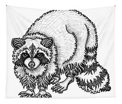 Tapestry featuring the drawing Raccoon by Amy E Fraser