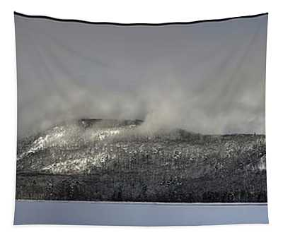 Ragged Mountain In Clouds Tapestry