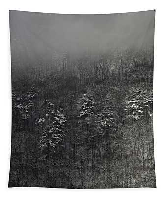 Ragged Mountain Pines In Snow Tapestry