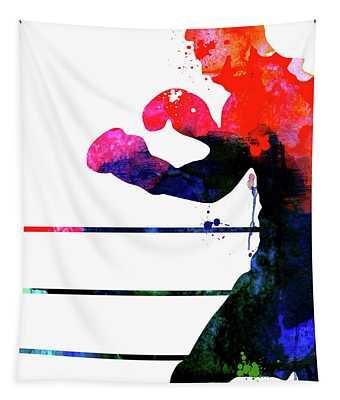 Raging Bull Watercolor Tapestry