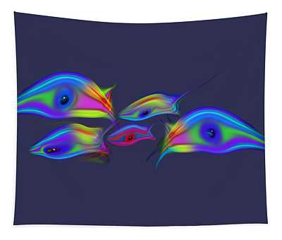 Rainbow Blue Fish Tapestry