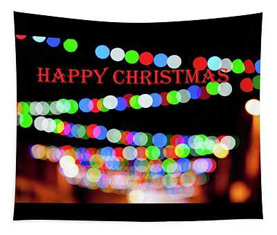 Rainbow Bokeh - Happy Christmas Tapestry