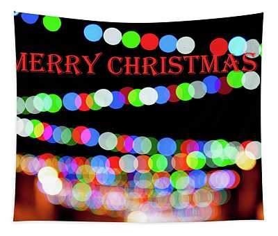 Rainbow Bokeh - Merry Christmas Tapestry