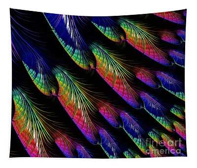 Rainbow Colored Peacock Tail Feathers Fractal Abstract Tapestry