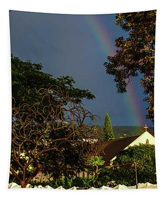 Rainbow Ended At The Church Tapestry