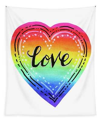 Rainbow Heart Love Tapestry