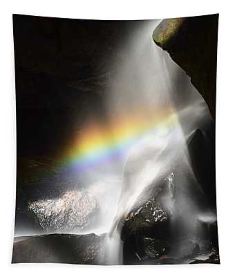Rainbow In Broken Rock Falls Tapestry