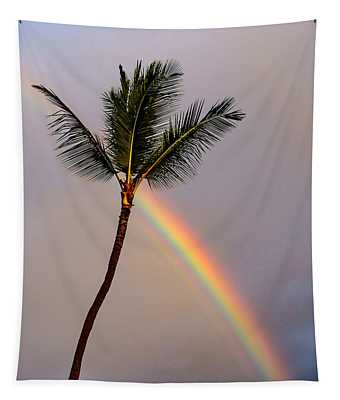 Rainbow Just Before Sunset Tapestry